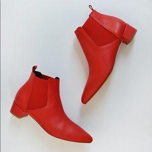 Miista red leather bootie